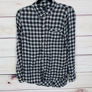 Lucky brand black and white plaid blouse